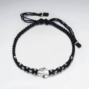 "7"" Adjustable Black Twisted Macrame Waxed Cotton Bracelet With Antique Hand Made Silver Twisted Rounf Beads"