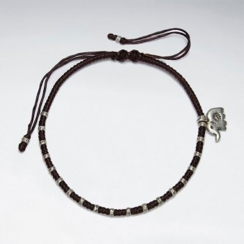 7 '' Adjustable Black Waxed Cotton Macrame Bracelet With Pattern Silver Beads and Elephant Accent Charm