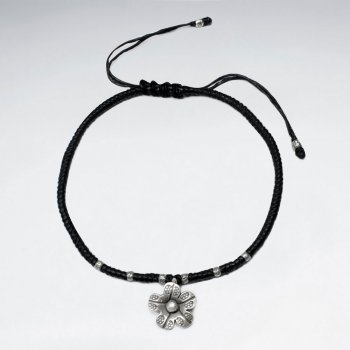 7 '' Adjustable Black Waxed Cotton Macrame Bracelet With Pattern Silver Beads and Textured Flower Accent Charm