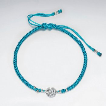 7 '' Adjustable Blue Macrame Nylon Cord Bracelet With Silver Beads and Open Circles Charm