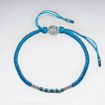 "7"" Adjustable Blue Macrame Nylon Cord Bracelet With Silver Beads and Sunburst Sterling Silver Charm"