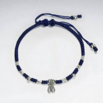 "7"" Adjustable Blue Macrame Waxed Cotton Bracelet With Antique Handmade Silver Heart Shape"