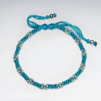 "7""  Adjustable Blue Macrame Waxed Cotton Bracelet With Silver Beads"