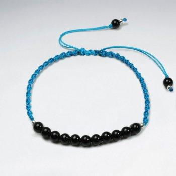 7 '' Adjustable Blue  Nylon Macrame Bracelet With Black Stone Accent