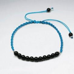 7 '' Adjustable Blue  Nylon Macrame Bracelet With Black Stone Accent