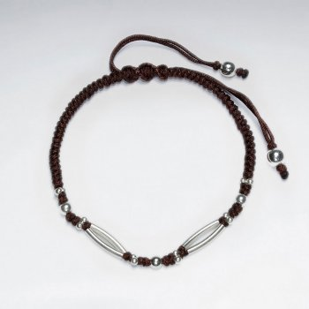 "7"" Adjustable Brown Macrame Waxed Cotton Bracelet With Antique Handmade Silver Curve Spacer"