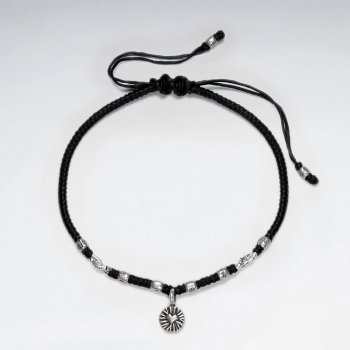 """7"""" Adjustable Brown Macrame Waxed Cotton Bracelet With Antique Handmade Silver Heart Charm"""
