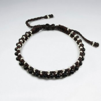 7 '' Adjustable Brown Macrame Waxed Cotton Double Cord Bracelet  With Black Stone and Silver Beads