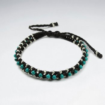 7 '' Adjustable Brown Macrame Waxed Cotton Double Cord Bracelet With Turquoise Beads and  Silver Beads