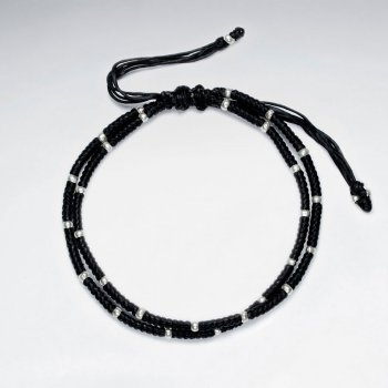 "7"" Adjustable Double Strands Black Macrame Waxed Cotton Bracelet With Antique Hand Made Silver"