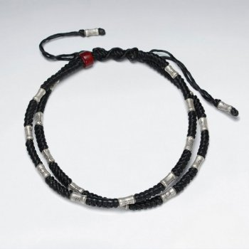"7"" Adjustable Double Strands Black Macrame Waxed Cotton Bracelet With Antique Hand Made Silver Tube And Red Glass Beads"