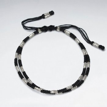 """7"""" Adjustable Double Strands Black Macrame Waxed Cotton Bracelet With Antique Hand Made Silver Tube"""