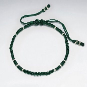 "7"" Adjustable Green Macrame Waxed Cotton Bracelet With Antique Handmade Silver Beads"