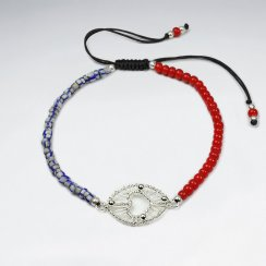 7 '' Adjustable Half and Half Red and Gray Bead Black Nylon  Macrame Bracelet With Silver Wirework Open Heart Oval Charm