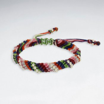 "7""  Adjustable Multi Color Macrame Waxed Cotton Bracelet With Antique Handmade SilverBeads"