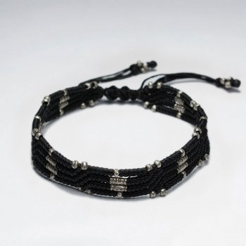 "7"" Adjustable Multi Strand Black Macrame Waxed Cotton Bracelet With Antique Hand Made Silver Beads"