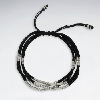 "7"" Adjustable Multi Strands Black Macrame Waxed Cotton Bracelet With Antique Handmade Silver Beads"