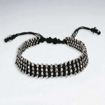 """7""""  Adjustable Multi Strands Black Macrame Waxed Cotton Bracelet With Antique Handmade Silver Beads"""