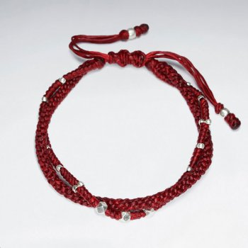 "7""  Adjustable Multi Strands Red Macrame Waxed Cotton Bracelet With Antique Handmade Silver Beads"