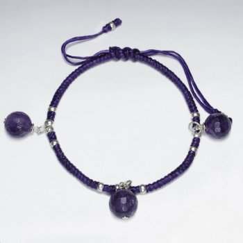"7"" Adjustable Purple Macrame Waxed Cotton Bracelet With Antique Handmade Silver Bead and Dangling Amethyst Ball"