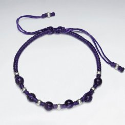 "7"" Adjustable Purple Macrame Waxed Cotton Bracelet With Antique Handmade Silver Bead And Round Amethyst"