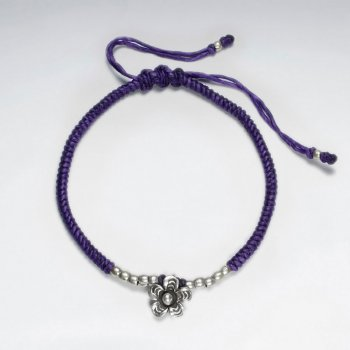 "7"" Adjustable Purple Macrame Waxed Cotton Bracelet With Antique Handmade Silver Flower Charm"