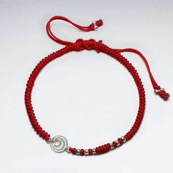 7 '' Adjustable Red Macrame Nylon Cord Bracelet With Silver Beads and Open Circles Charm
