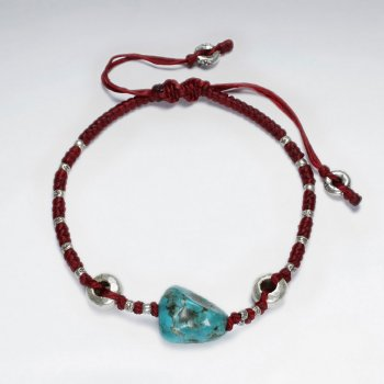 "7""  Adjustable Red Macrame Waxed Cotton Bracelet With Antique Handmade Silver Beads And Turquoise"