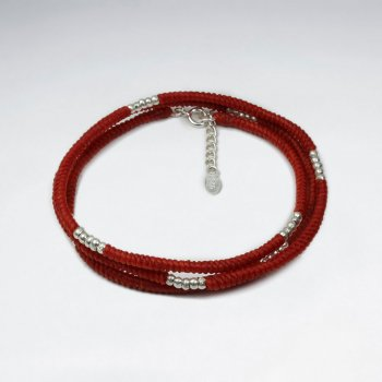 7 '' Adjustable Red Macrame Waxed Cotton Cord Bracelet With Pattern Silver Charm Beads in Triple Stack Loop