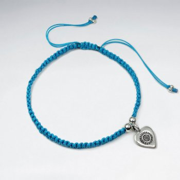 "7"" Adjustable Sky Blue Macrame Bracelet With Heart Charm"