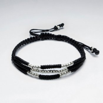 "7"" Adjustable Triple Strands Black Macrame Waxed Cotton Bracelet With Antique Hand Made Silver"