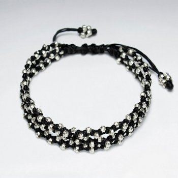 """7"""" Adjustable Triple Strands Black Macrame Waxed Cotton Bracelet With Antique Handmade Silver Beads"""