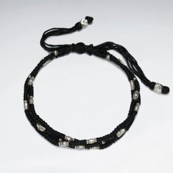 "7"" Adjustable Triple Strands Black Macrame Waxed Cotton Bracelet With Antique Handmade Silver Beads"