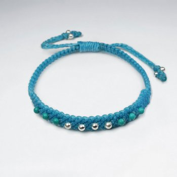 7 '' Adjustable Turquoise Baby Blue Waxed Cotton Macrame Double Accent Bracelet With Silver Beads