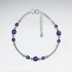 "7"" Amethyst Bracelet With Curve Silver Tube"