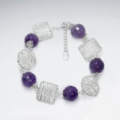 "7"" Amethyst Bracelet With Round And Square Silver Wirework"