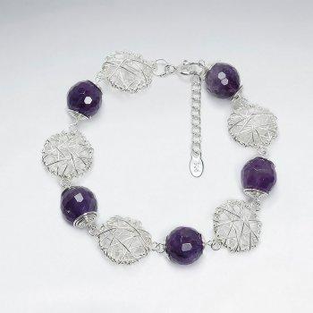 """7"""" Amethyst Bracelet With Round Silver Wirework"""
