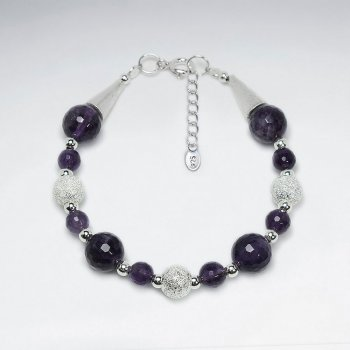 "7"" Amethyst Bracelet With Silver Matted Silver Cone Bead"