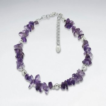 "7"" Amethyst Nugget And Silver Bead Bracelet"