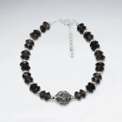 "7"" Antique Silver Bracelet With Smoky Quartz"