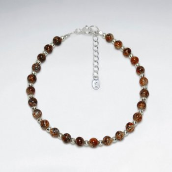 """7"""" Beaded Multi Color Glass Beads And Silver Bracelet"""