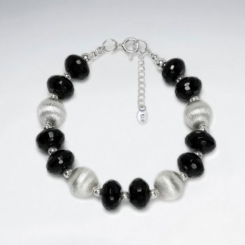 "7"" Black and Silver Accent Beads on Sterling Silver Clasp Chain"