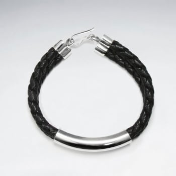 """7"""" Black Braided Double PVC Strands Bracelets With Silver Tube And Closing"""