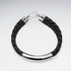 "7"" Black Braided Double PVC Strands Bracelets With Silver Tube And Closing"