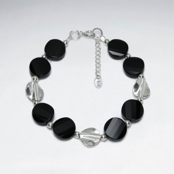 "7"" Black Charms with Alternate Bead Accent Bracelet on Silver Clasp Chain"