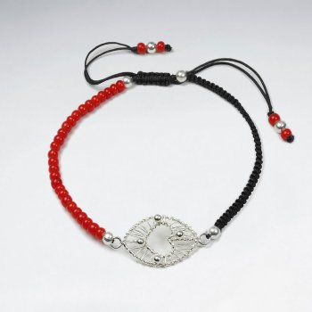 "7"" Black Macrame Bracelet With Red Glass Bead And Silver Open Heart Wirework"