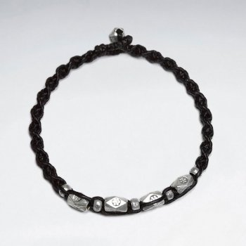 "7"" Black Macrame Waxed Cotton Bracelet With Antique Hand Made Silver Faceted Tube"