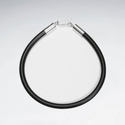 "7"" Black PVC Bracelet With Silver Closing"