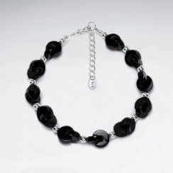 "7"" Black Stone Cable Silver Bracelet"