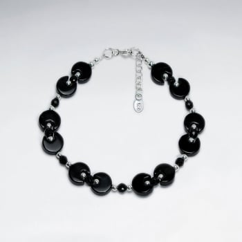 "7"" Black Stone Cable Silver Bracelet With Small Faceted Black Beads"
